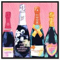 """Oliver Gal Pass the Bottle' Framed Fashion Wall Decor, 50"""" x 50"""", Pink"""