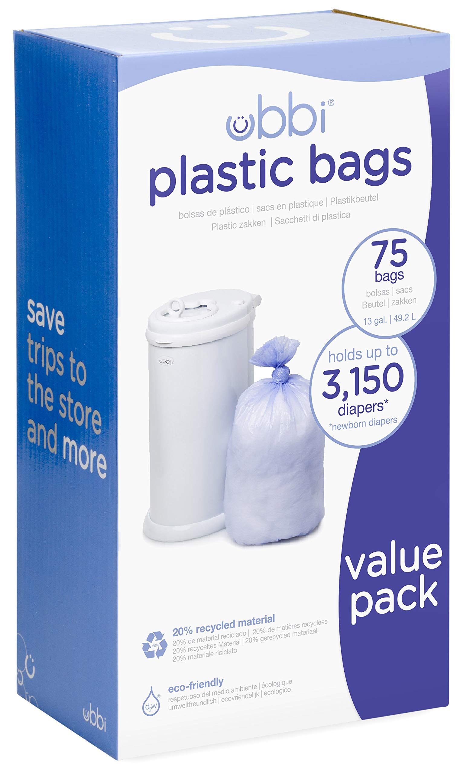 Ubbi Disposable Diaper Pail Plastic Bags, Made with Recyclable Material, True Value Pack, 75 Count, 13-Gallon
