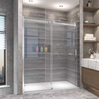"""Elegant Frameless Sliding Glass Shower Door, 60"""" W, x 72"""" H,Shower Enclosure with 5/16 in. Clear Glass, Polished Stainless Steel"""