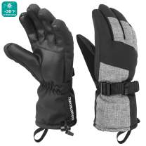 mysuntown Ski Gloves Winter Gloves for Men and Women Waterproof Gloves Cold Weather Outdoor Snowboarding Warm Glove Black