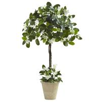Nearly Natural Stephanotis Topiary with Planter, 3'