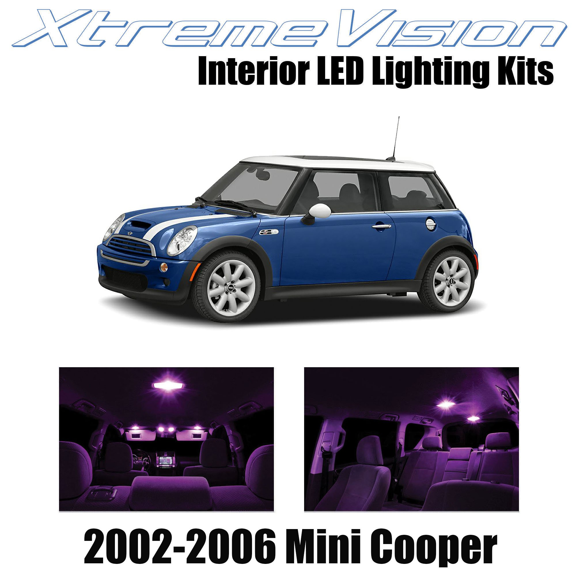 XtremeVision Interior LED for Mini Cooper 2002-2006 (7 Pieces) Pink Interior LED Kit + Installation Tool