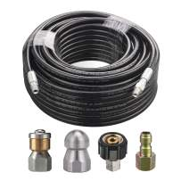 M MINGLE 150 Feet Sewer Jetter Kit for Pressure Washer, 1/4 Inch NPT, Drain Cleaning Hose, Button Nose and Rotating Sewer Jetting Nozzle, Orifice 4.0, 4.5, 4000 PSI