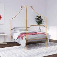 Novogratz Camilla Metal Canopy, Twin Size Frame, Gold Bed
