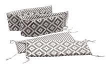 Bacati Love Crib Protection (Crib Bumper Pad, Grey/Silver)
