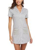 Ekouaer Sleepshirt Women's Short Sleeve Striped Nightgown Boyfriend Button Down Lapel Collar Pajamas