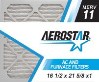 16 1/2x21 5/8x1 AC and Furnace Air Filter by Aerostar - MERV 11, Box of 12