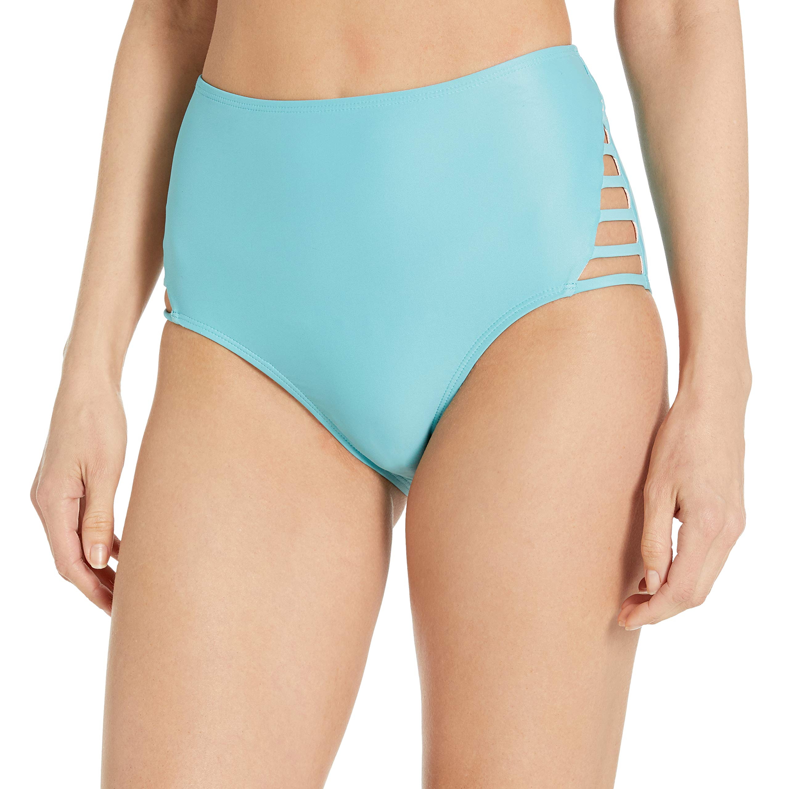 Amazon Brand - Mae Women's Swimwear Strappy High Waist Cheeky Bikini Bottom
