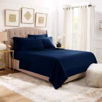 6 Piece Full Sheets - Bed Sheets Full Size – Bed Sheet Set Full Size - 6 PC Sheets - Deep Pocket Full Sheets Microfiber Full Bedding Sets Hypoallergenic Sheets - Full - Navy Blue