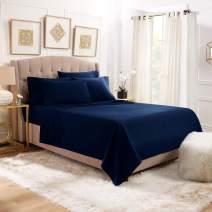 6 Piece Queen Sheets - Bed Sheets Queen Size – Bed Sheet Set Queen Size - 6 PC Sheets - Deep Pocket Queen Sheets Microfiber Queen Bedding Sets Hypoallergenic Sheets - Queen - Navy Blue