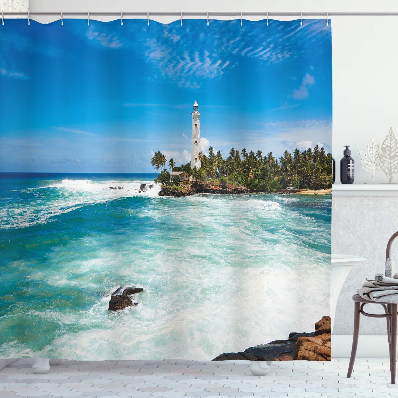 "Ambesonne Lighthouse Shower Curtain, Tropical Island Lighthouse with Palm Trees Rocks Wavy Seaside Beach Ocean, Cloth Fabric Bathroom Decor Set with Hooks, 70"" Long, Blue White"