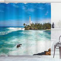 "Ambesonne Lighthouse Shower Curtain, Tropical Island Lighthouse with Palm Trees Rocks Wavy Seaside Beach Ocean, Cloth Fabric Bathroom Decor Set with Hooks, 70"" Long, Blue White"