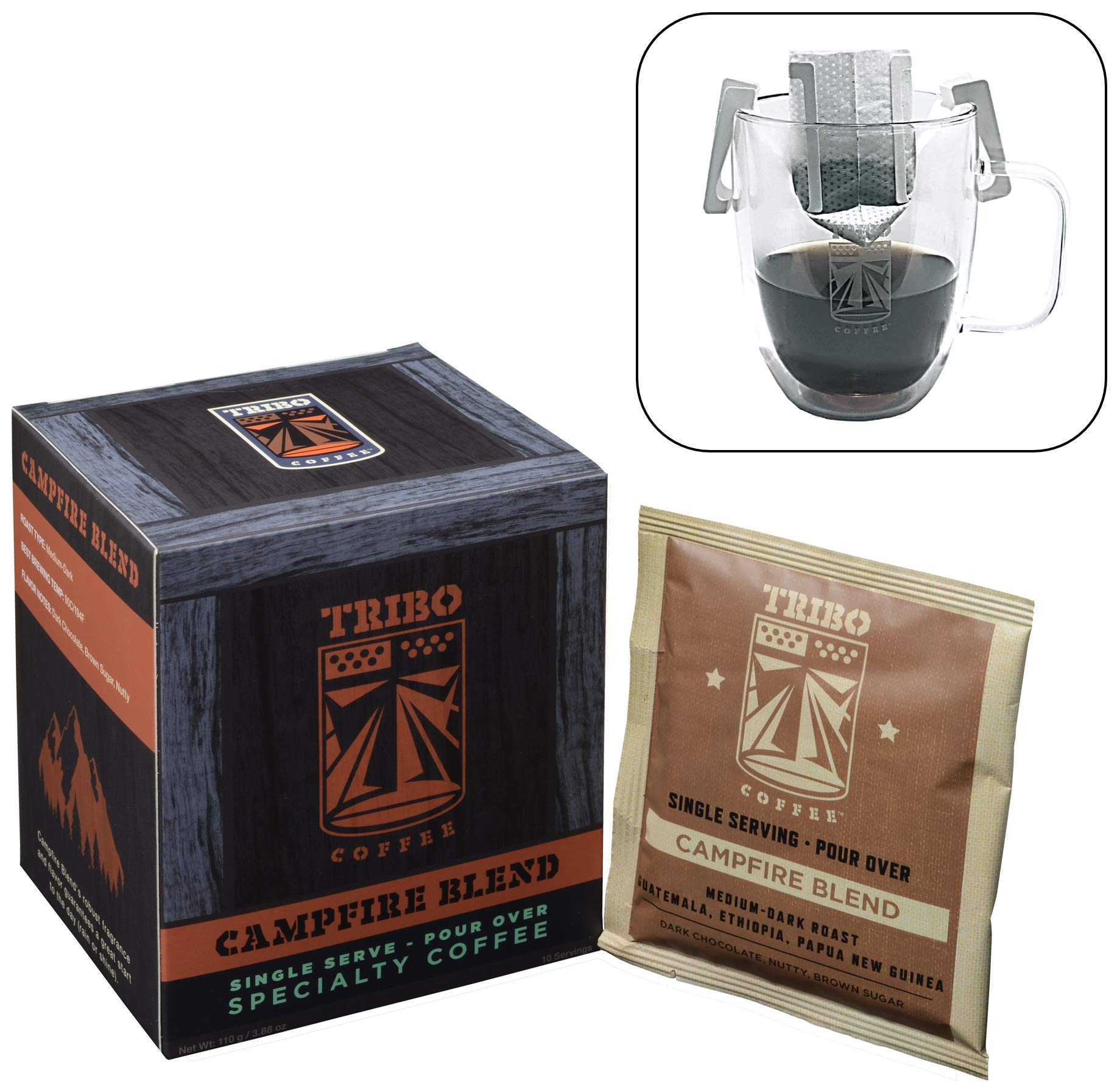 Tribo Coffee Single-Serve Portable Pour Over Drip Coffee - Specialty Grade - Campfire Blend - 10 Servings Per Box (Medium-Dark Roast)