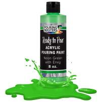Pouring Masters Neon Green with Envy Acrylic Ready to Pour Pouring Paint – Premium 8-Ounce Pre-Mixed Water-Based - for Canvas, Wood, Paper, Crafts, Tile, Rocks and More