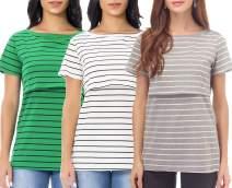 Smallshow Women's Maternity Nursing Top Short Sleeve Breastfeeding T-Shirt