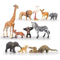 "TOYMANY 12PCS Realistic Safari Animals & Zoo Animals Figurines, 2-6"" Wild Life Animal Figures Set Includes Elephant,Lion,Giraffe,Chimpanzee, Cake Toppers Christmas Birthday Gift for Kids Todllers"
