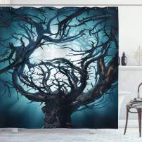 "Ambesonne Mystic Shower Curtain, Big Mystic Tree with Big Thorns Branch in Spooky Night Fantasy Illustration Print, Cloth Fabric Bathroom Decor Set with Hooks, 70"" Long, Teal White"