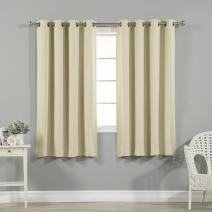 "Best Home Fashion Closeout Basic Thermal Insulated Blackout Curtains - Antique Bronze Grommet Top - Beige - 52"" W x 63"" L – No tie Back (1 Panel)"