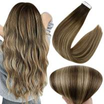 Full Shine Double Sided Tape in Hair Extensions 14 Inch Seamless Tape in Extensions Human Hair 2 Dark Brown Fading to 3 highlights 27 Honey Blonde Hair Extensions 20 Pieces 50 Grams
