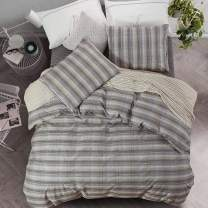 NTBAY 3 Pieces Cotton Duvet Cover Set, and Warm Yarn Dyed Stripe Printed Design with Hidden Zipper Bedding Set, Queen Size, Khaki and White