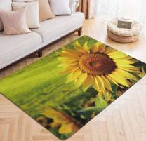 Area Rug Sunflower Large Floor Mat for Kids Living Dining Dorm Room Bedroom Home Decorative Yellow 5' x 6.6'