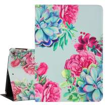 Hi Space Succulent iPad 9.7 Case,Pink Flowers Light Blue Folio Stand Smart Tablet Case Cover for iPad Air 1/2 5th/6th Gen 2017/2018 Auto Sleep Wakeup