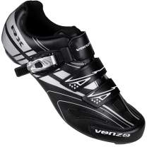 Venzo RX Bicycle Unisex Men's or Women's Road Cycling Riding Shoes - Compatible with Peloton Shimano SPD & Look ARC Delta - Perfect for Indoor Spin Road Racing Bikes Black
