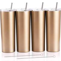 4 Pack Classic Tumbler Stainless Steel Double-Insulated Water Tumbler Cup with Lid and Straw Vacuum Travel Mug Gift with Cleaning Brush (Champagne Gold, 20 oz)