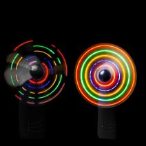 LED Portable Handheld Fan - Light Up Spinner Fan Battery Operated- Black