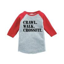 7 ate 9 Apparel Kids Crawl Walk Crossfit Red Baseball Tee