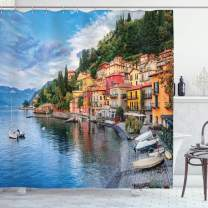 """Ambesonne Italian Shower Curtain, Summer Village by The Mediterranean Sea with Yacht Boats Idyllic Town Panorama, Cloth Fabric Bathroom Decor Set with Hooks, 75"""" Long, Blue Grey"""