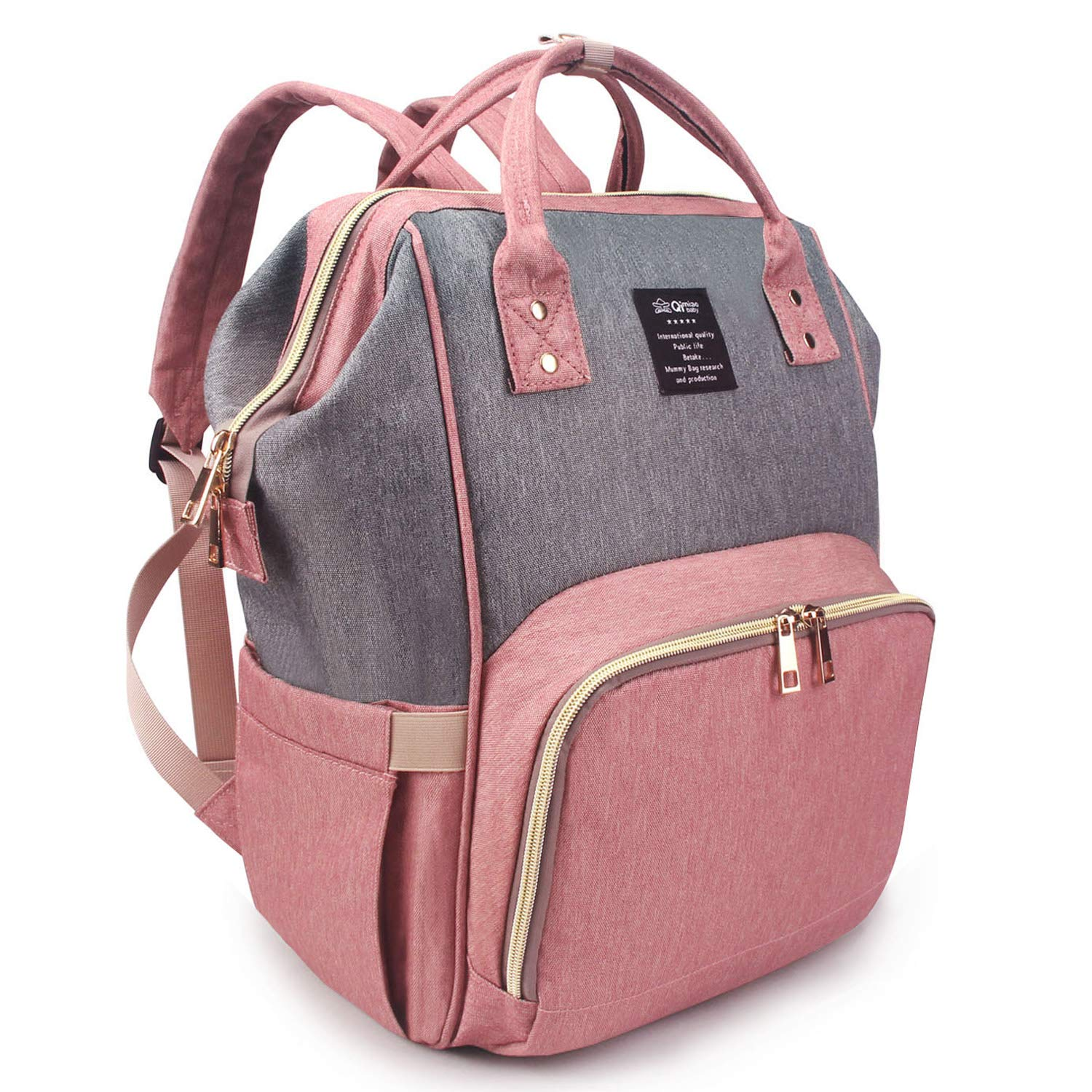 Qimiaobaby Diaper Bag Backpack, baby Nappy storage travel bag (Pink Gray)