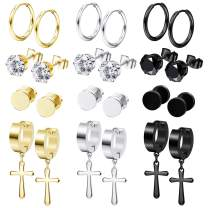 Besteel 12 Pairs Stainless Steel Earrings for Men Women Vintage Cross Dangle Hinged Earrings Hoop CZ Stud Earrings Tunnel Earrings Piercing Set 6MM 8MM 10MM