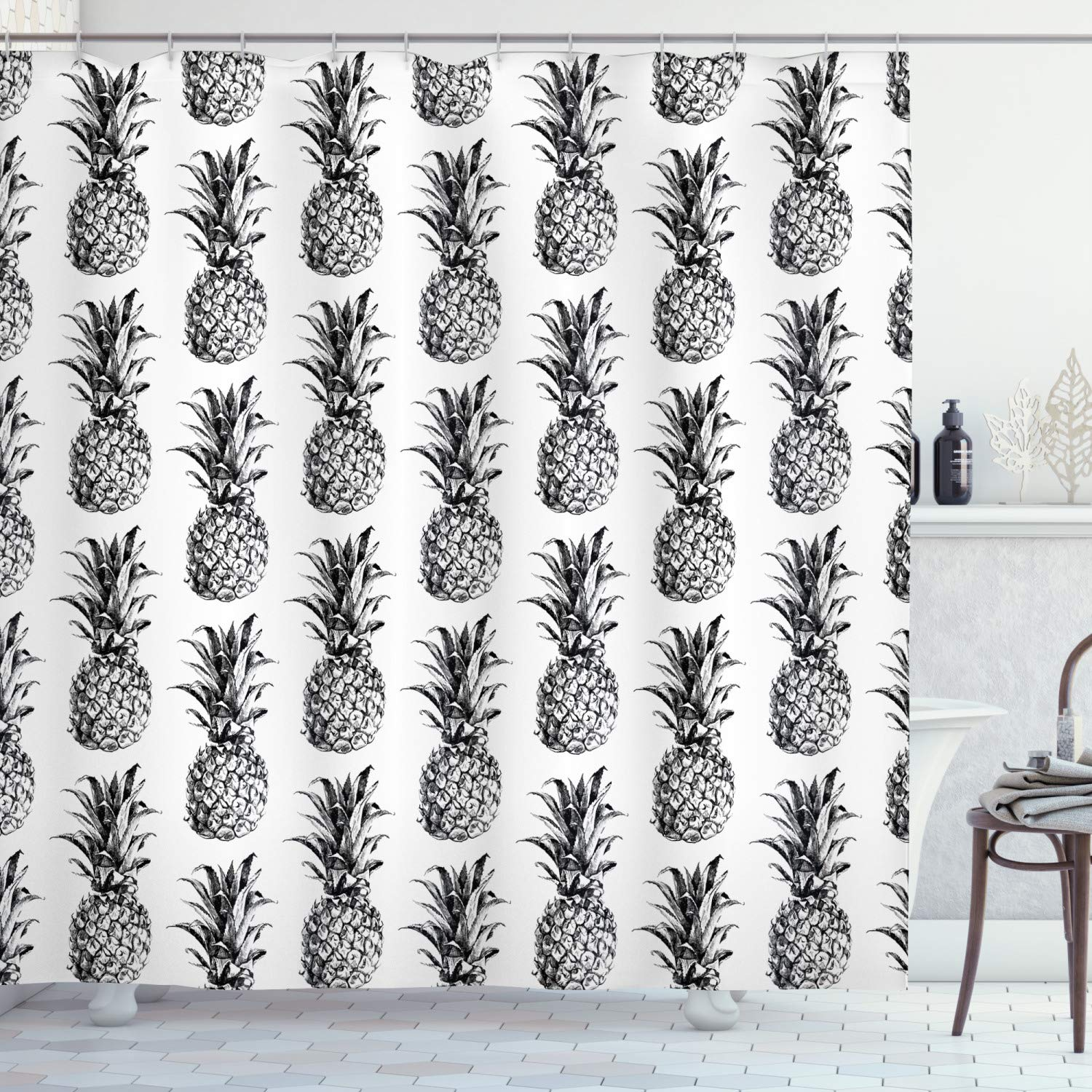 """Ambesonne Pineapple Shower Curtain, Hand Drawn Tropical Theme Vintage Style Pineapple Fruit Pattern, Cloth Fabric Bathroom Decor Set with Hooks, 70"""" Long, Black Gray"""