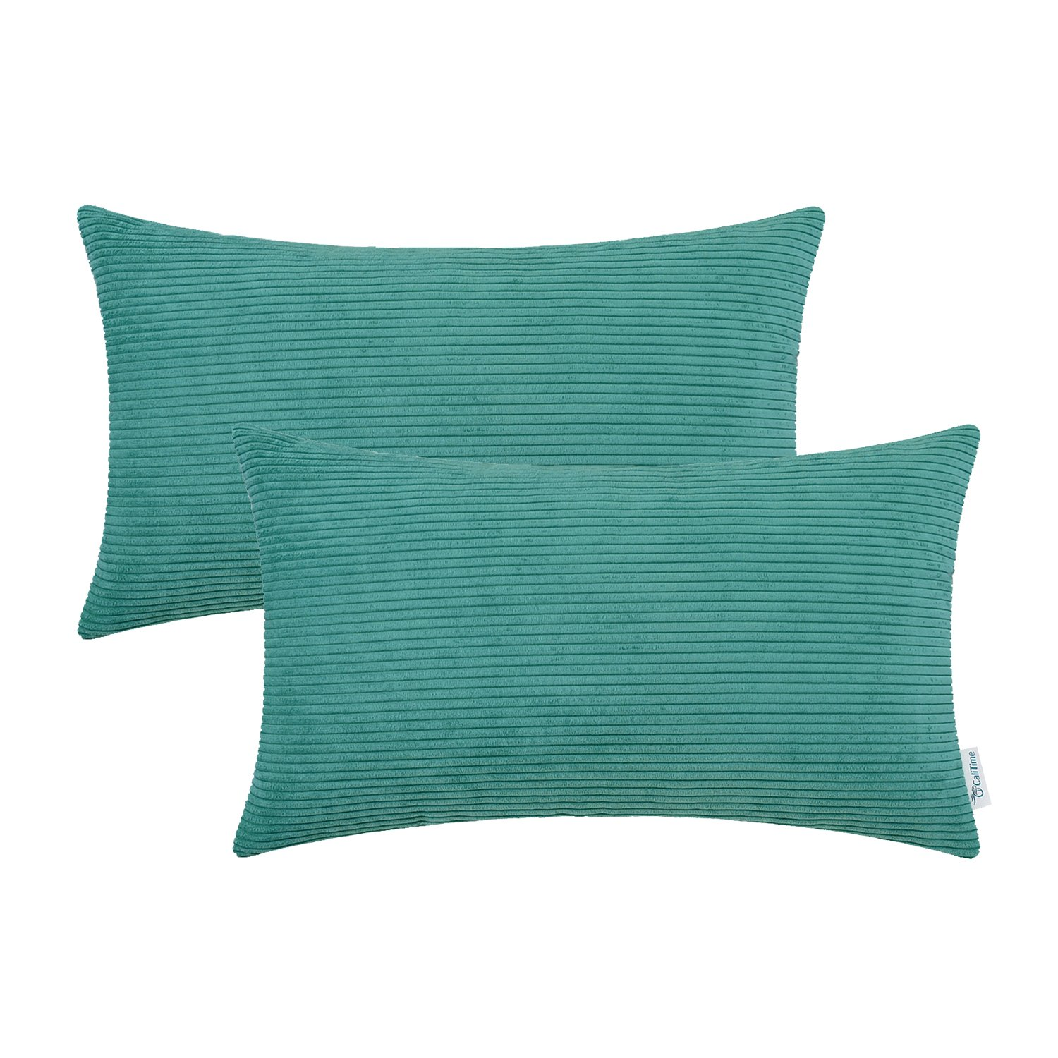 CaliTime Pack of 2 Cozy Bolster Pillow Covers Cases for Couch Bed Sofa Ultra Soft Corduroy Striped Both Sides 12 X 20 Inches Teal