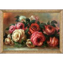"""La Pastiche RN2558-FR-58682024X36 Discarded Roses with Gold Luna Framed Hand Painted Oil Reproduction, 40"""" x 28"""", Multi"""