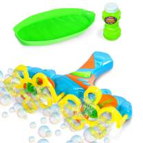 Kidzlane Bubble Gun for Kids | Bubble Blower for Kids & Toddlers with Light up Multi Color Effects | 10 Streams Bubble Maker, Hundreds of Bubbles | Includes 4 oz. of Solution | Ages 3+
