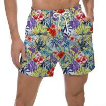 UNICOMIDEA Mens Swim Trunks Slim Fit Board Shorts Quick Dry Bathing Suits Floral Print Swim Shorts with Mesh Lining