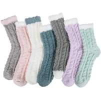 Chalier 5-7 Pairs Womens Winter Fuzzy Socks Cozy Fluffy Socks Warm Fuzzy Christmas Socks for Women Gifts
