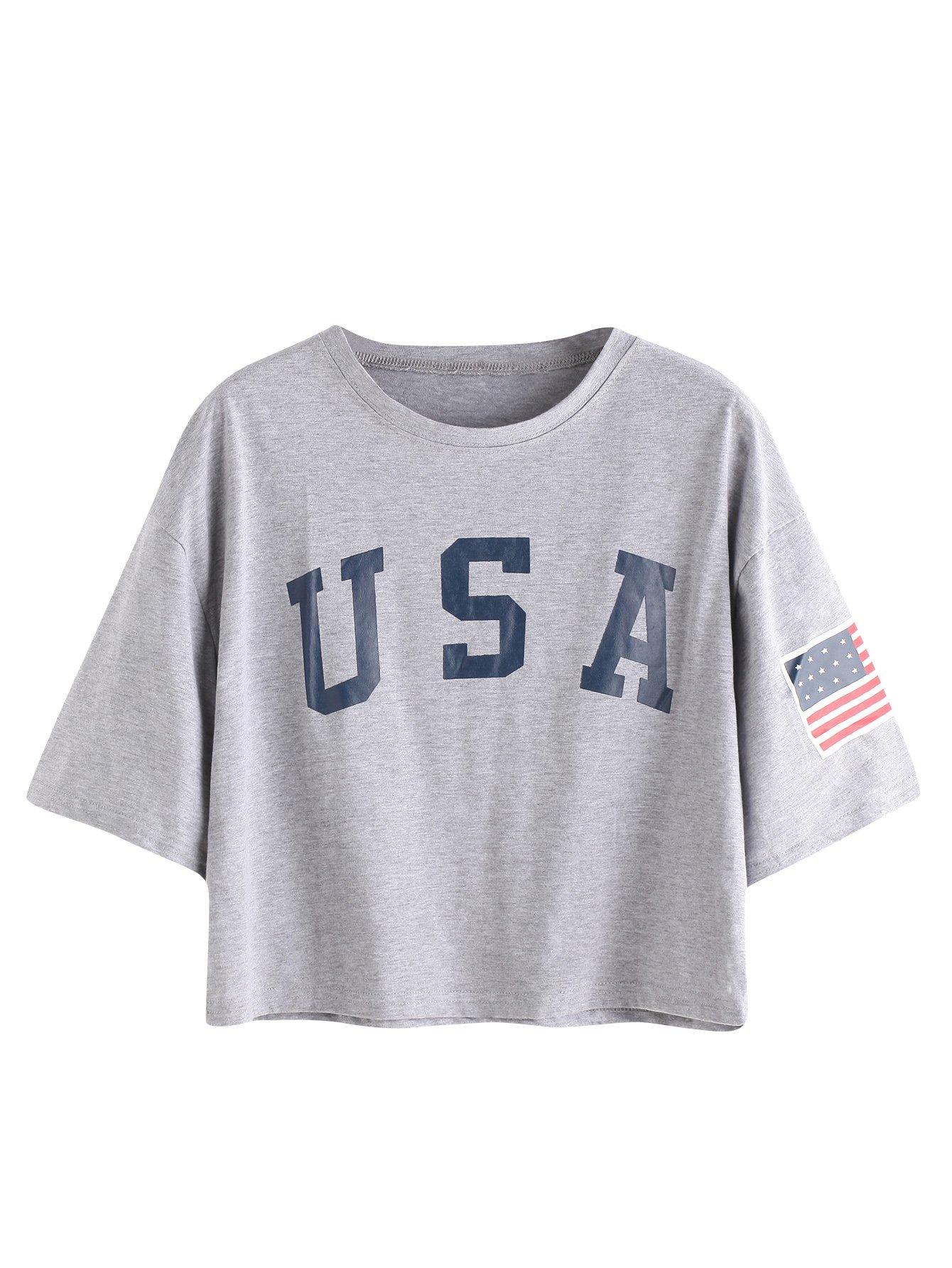 HUILAN Women's USA Letter Print Crop Tops Summer Short Sleeve T-Shirt