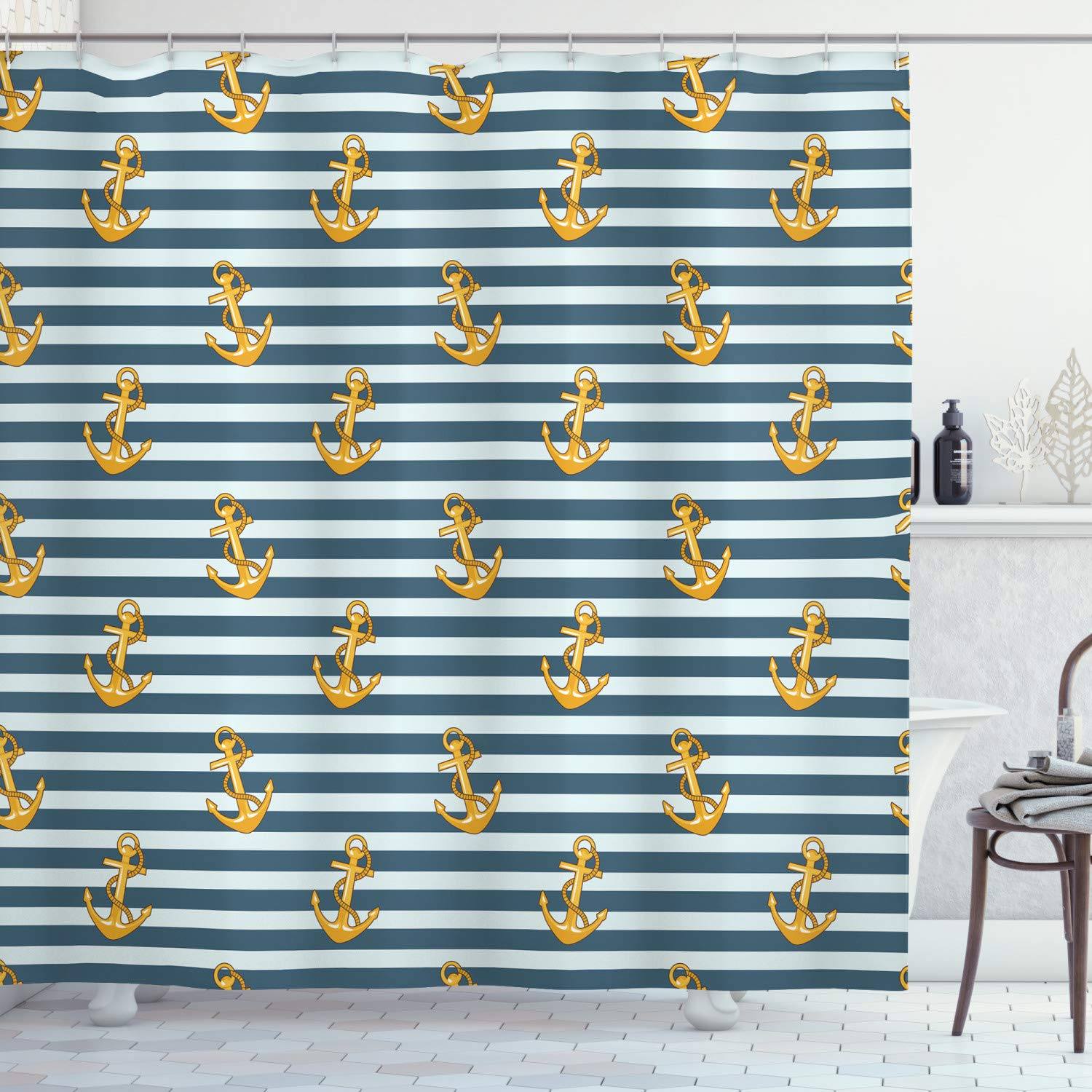 """Ambesonne Harbour Stripe Shower Curtain, Old Fashion Nautical Fashion with Anchors Coast Theme, Cloth Fabric Bathroom Decor Set with Hooks, 84"""" Long Extra, Yellow Blue"""
