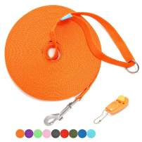 BAAPET 15 ft, 20 ft, 30 ft, 50 ft, 100 ft Long Leash for Dog Cat Training, Play, Camping, or Backyard Lead with Free Training Clickers for Small, Medium and Large Dogs or Cats (15 Feet, Orange)