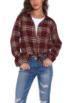 GUANYY Women's Long Sleeve Casual Loose Classic Plaid Button Down Shirt (Classic Red and Black, X-Large)