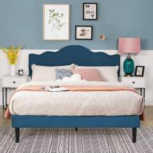 VECELO Upholstered Platform Bed/Mattress Foundation with Adjustable Headboard, Metal Frame/Strong Wood Slat Support & Quick Assembly (Queen, Blue) …