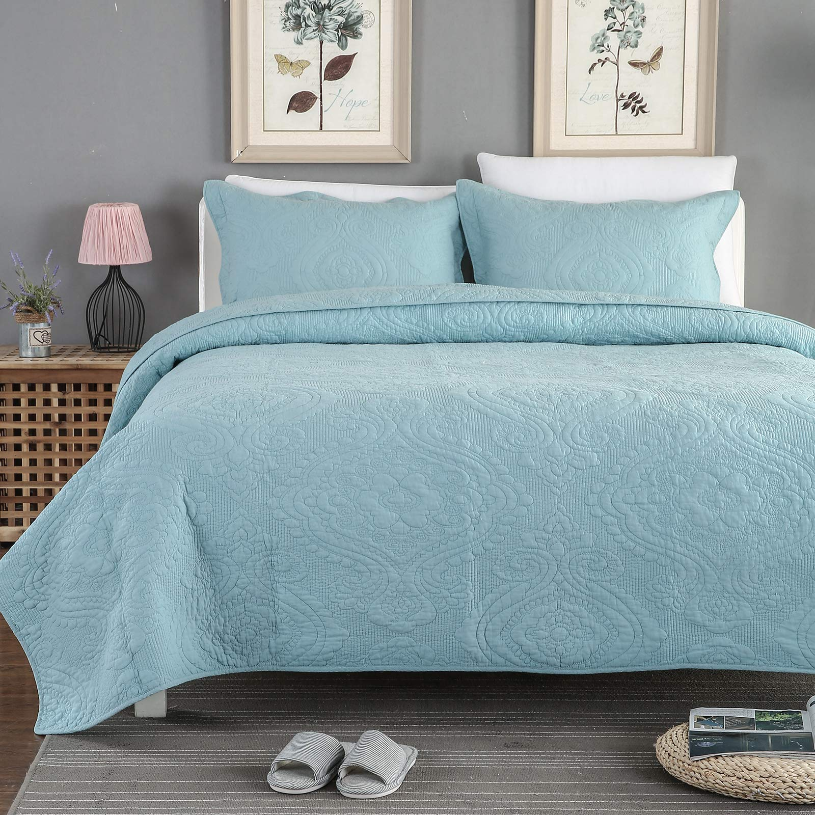 Brandream Quilt Set Queen Size Cotton Bedspread Coverlet Set Luxury Quilted Comforter Sets Light Blue Damask Embroidery