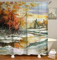 LIVILAN Oil Painting Tree Snow Pattern Shower Curtain Set with 12 Hooks Fabric Bath Curtain Home Decorations Home Curtain Machine Washable, 70.8 by 70.8 Inches