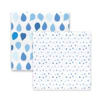 Amazing Baby Silky Swaddle Muslin Blankets, Set of 2, Bamboo Viscose, Drops and Dots, Blue