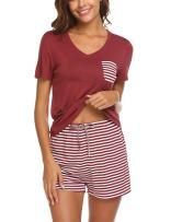 Hotouch Womens Pajamas Short Sets V-Neck Short Sleeve Shorts Sleepwear Pj Sets