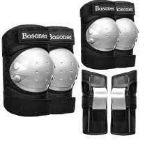 BOSONER Adult/Child Knee Pads Elbow Pads Guards Protective Gear Set for Cycling Bike Skateboarding Inline Roller Skating Bicycle Scooter, Wrist Guards Youth Kids Adults for Multi-Sports Outdoor