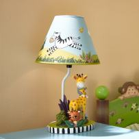 Fantasy Fields - Sunny Safari Animals Thematic Kids Table Lamp - Imagination Inspiring Hand Painted Details & Lead-Free Water-based Paint for Kid's Bedroom - Giraffe & Monkey